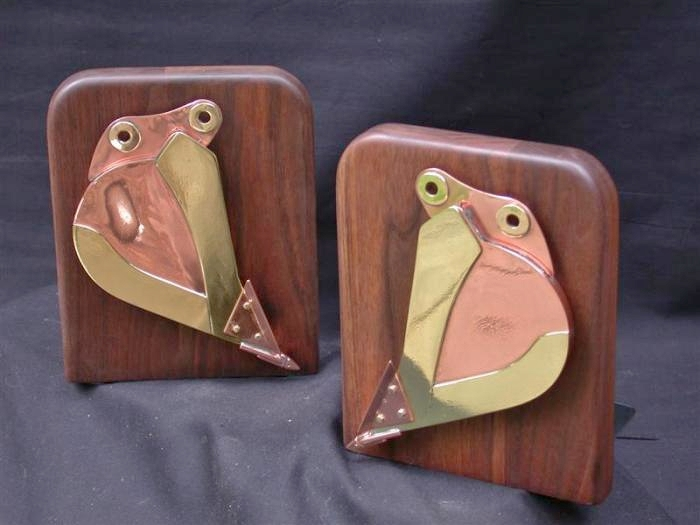 Brass, Copper & Wood Excavator Bucket Bookends